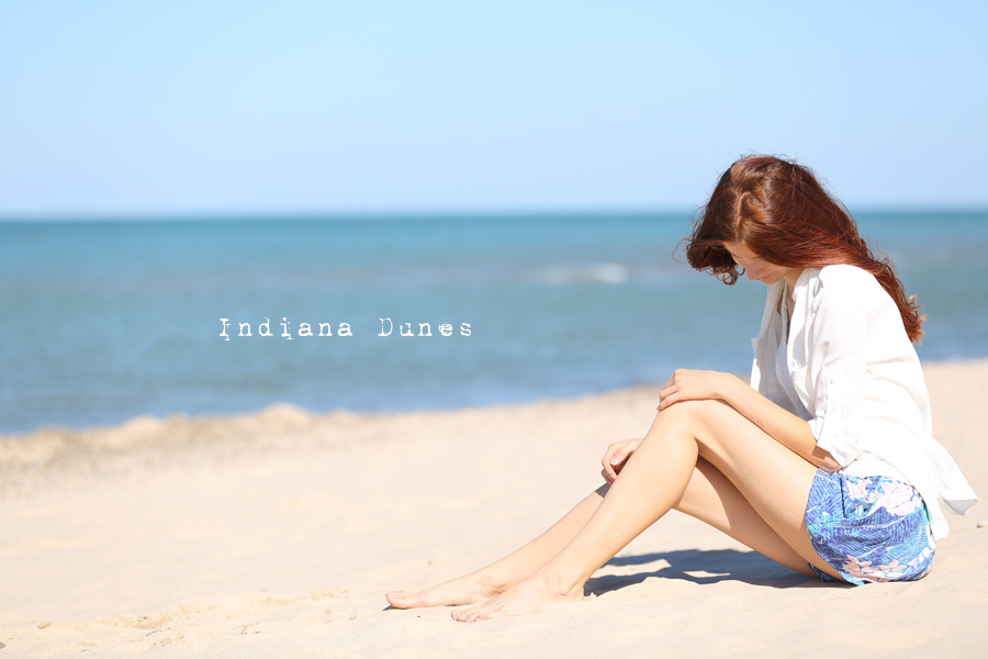 Natalie Soul Life Style Blog. Indiana Dunes Outfit. American Eagles Outfitters shorts, Top Aeropostale,  shirt Express.