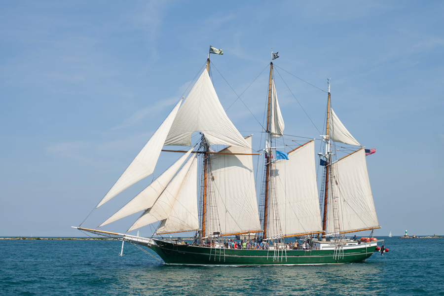 PEPSI TALL SHIPS CHICAGO 2016. Parade of Sail at Navy Pier. Pride of Baltimore II - Topsail Schooner